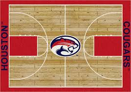 cougars basketball home court nylon area rug