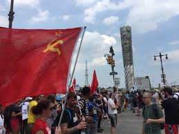 Sickle Russian Flag Photos Soviet Flags Fly Proudly At Dnc Convention March In Philly
