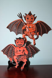 vintage halloween decorations reproductions rare german winged devil bat diecuts the top characters appears