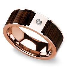 diamond wood rings images Black walnut wood inlay men 39 s wedding ring with diamond in rose gold jpg