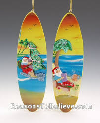 surfboard santa ornaments santa claus figurines and carved