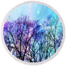 black trees bright pastel space towel for sale by johari