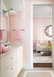 Pink Tile Bathroom Pink Bathroom With Pink Cafe Curtains Traditional Bathroom