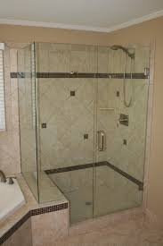 bathroom breathtaking corner cubicle walk in shower with single breathtaking corner cubicle walk in shower with single swing glass shower doors with stainless steel handle doors and diagonal white ceramic wall panels and