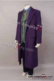batman dark knight joker purple long trench coat halloween costume