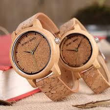 bobo bird design bamboo wooden quartz wristwatch