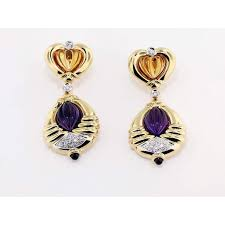 citrine earrings yg amethyst citrine earrings