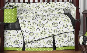 Green And White Crib Bedding Polka Dot Designer Lime Green Black White Circles Boy Baby