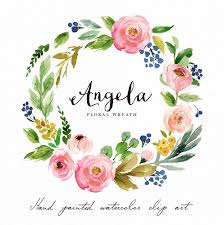 flower wreath watercolor flower wreath clipart angela painted wedding