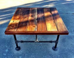 Black Pipe Coffee Table - square industrial coffee table made with by reclaimedwoodgoods