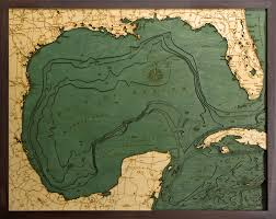 Map Mexico Woodchart 3d Gulf Of Mexico Nautical Wood Map Depth Chart