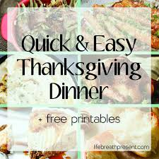 recipes for an easy thanksgiving dinner free printables