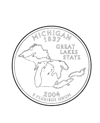 coloring pages quarter usa printables michigan state quarter us states coloring pages