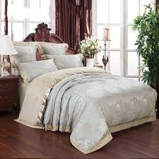 jacquard silk bedclothes bedding set luxury 4 6pcs gold satin bed