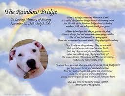 loss of pet personalized pet memorial poem the rainbow bridge for loss of pet