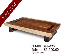 toco coffee table solid natural edge wood slab contemporary