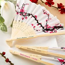 fan favors personalized cherry blossom silk fan favors asian theme favor