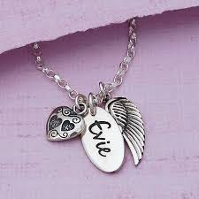 name charm necklace personalised silver name necklace with angel wing and heart charms