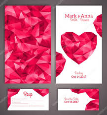 Wedding Invitation Cards With Photos Wedding Invitation Cards Template With Abstract Polygonal Heart