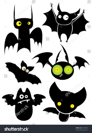 cartoon halloween picture set cartoon halloween black bats vector stock vector 64514062