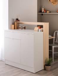 Wohnzimmerschrank Mit Bar Esszimmerschrank Mit Klapptisch Kendra 2 104x115x59 Eiche Weiß