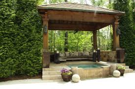 outdoor living room design with small pond idea pretty outdoor