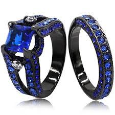 blue wedding rings black blue princess cut cubic zirconia wedding ring