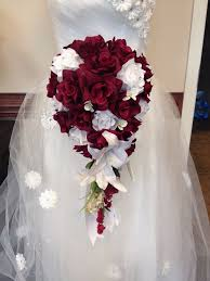 wedding flowers ebay 2pc cascade bridal bouquet boutonniere burgundy white wedding