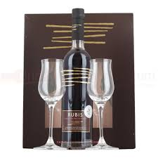 Wine Glass Gifts Rubis Chocolate Wine Liqueur 50cl U0026 2 Glasses Gift Pack