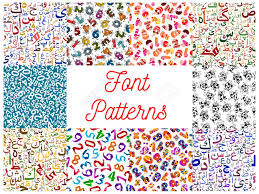 pattern and numbers letters and numbers seamless patterns set with arabian calligraphy