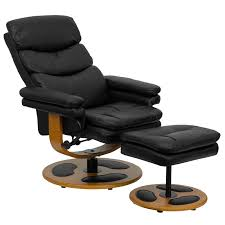 black leather club chair and ottoman contemporary black leather recliner and ottoman with wood base bt