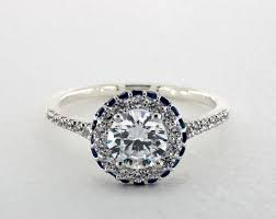 sapphire accent engagement rings sapphire accented falling edge engagement ring 14k white gold