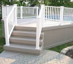 composite deck with vinyl railing by elyria fence
