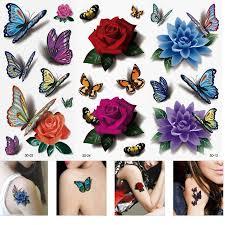 3 sheet 3d waterproof temporary tattoos butterfly flower fake