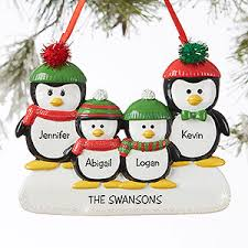 penguin family 4 name personalized ornament gifts