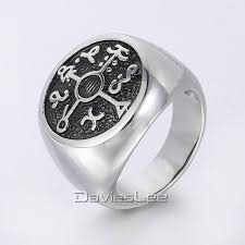 round steel rings images Silver tone kabbalah seal of solomon magic round signet ring mens jpg