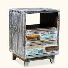 distressed reclaimed wood end table with shelf and drawers of