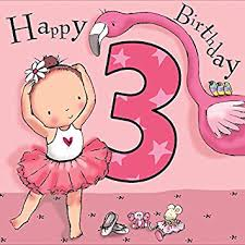 twizler 3rd birthday card for with ballerina and flamingo