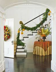 Banister Christmas Garland Festive Holiday Staircases And Entryways Traditional Home