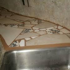 bathroom tile countertop ideas broken tile mosaic counter