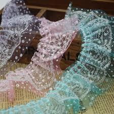 ruffle ribbon 25yards lot 6cm width printed ribbon lace fabric ruffle trim for