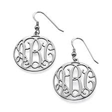 monogram earrings sterling silver monogram earrings custom made with any