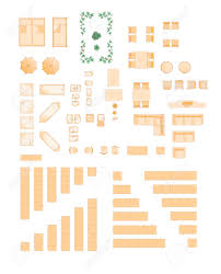 furniture illustration for floorplans architects royalty free