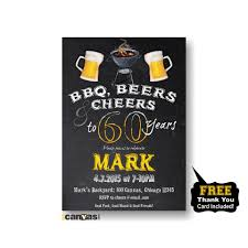 bbq cheers to 30 years any age beer birthday party invitation