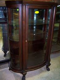 mahogany curved glass china cabinet chippendale federal style