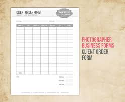 photography business forms client order form for
