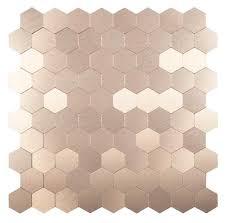 Peel  Stick Stainless Steel Tile Hexagon Bronze - Bronze backsplash tiles