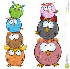 funny owl cartoon group stock vector image 44322741