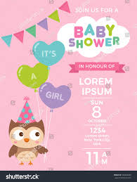 pink owl baby shower invitations cute owl balloons baby shower invitation stock vector 556899286