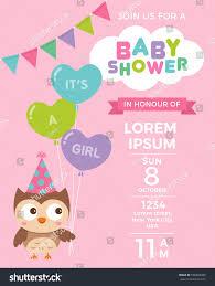cute owl balloons baby shower invitation stock vector 556899286